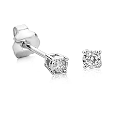 Orovi Woman Studs Solitaire Engagement Earrings 9 ct / 375 White Gold With Diamonds Brilliant Cut 0.05 ct nm8VYLlZU