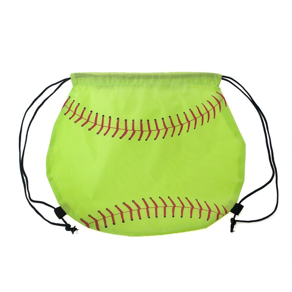 Opromo Basketball/Football/Softball 210D Polyester Drawstring Backpack Cinch Bag-Softball-24 Pack