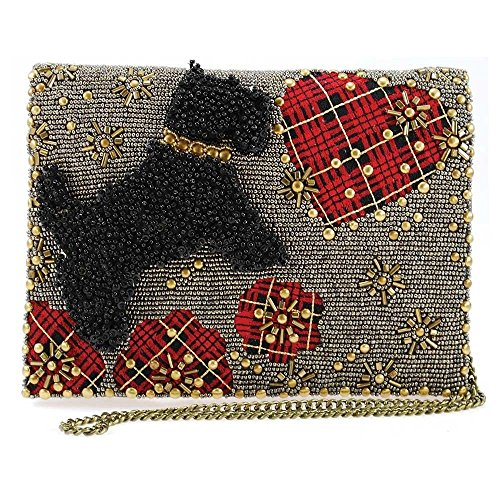 Mary Frances Love Beaded Scottie Dog with Plaid Heart Crossbody Clutch, pewter ()