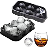 2Pc Sphere Ice Mold, Big Ice Cube Tray Large Silicone Whiskey Ice Cube Molds with Lids Easy Release & Flexible Ice Cube Molds for Cocktails, Whiskey, Juice and Any Drinks, BPA Free (6 Sphere)