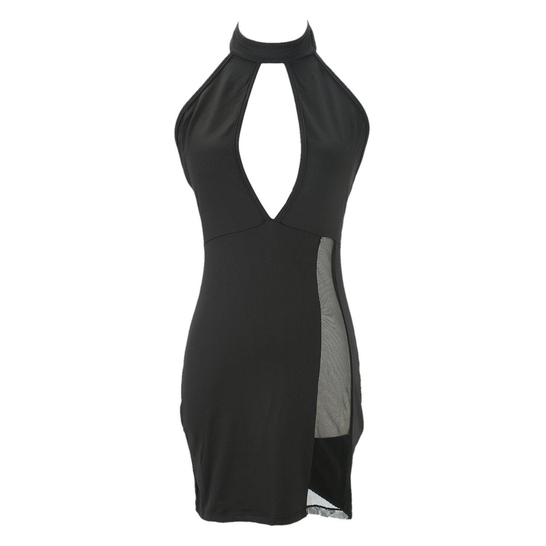 FENTI Damen Sexy Dessous Rueckenfreies Sommerkleid Kurze Mini Kleid Negligee Neckholder