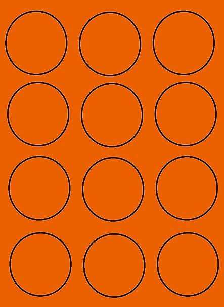 50 hoja de hojas de etiquetas naranja fluorescente redonda de 60 ...