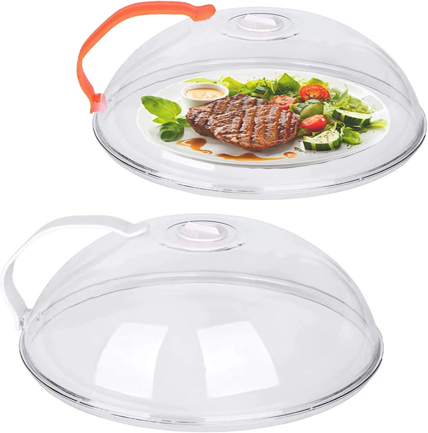 2 Pack Microwave Plate Cover, Transparent Microwave Splatter Cover XL, Microwave Food Cover Microwave Splatter Guard Lid Anti-Splatter with Steam Vents Handle Keeps Microwave Oven Clean