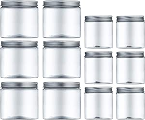 6.8oz & 13.5oz Clear Plastic Jars with Lids,Durable Round Food Grade Air Tight Storage Containers,Ideal for Kitchen & Household Storage of Dry Goods,Peanut Butter,set of 12 (3.6L)