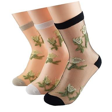 Amazon.com: ziye tienda 3 pares calcetines Niñas Seda para ...