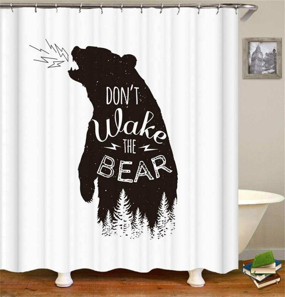 Black Bear Shower Curtain Sets Fabric Funny Roars Don't Wake Wild Animal in Forest Wildlife Theme Growl Rage Get Up Gas Machine Washable Digital Printing Bathroom Decor with 12 Hooks 72 x 72 inches