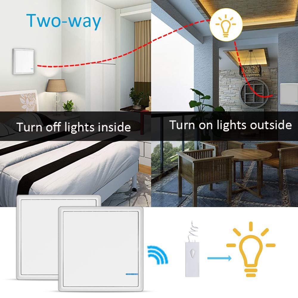 aixi-SHS Wi-Fi 433Mhz r/écepteur//contr/ôleur sans fil 433Mhz commutateur de lumi/ère-deux voies Google Assistant TuyaSmart//Smart Life APP contr/ôle Alexa 2 commutateur + 1 r/écepteur