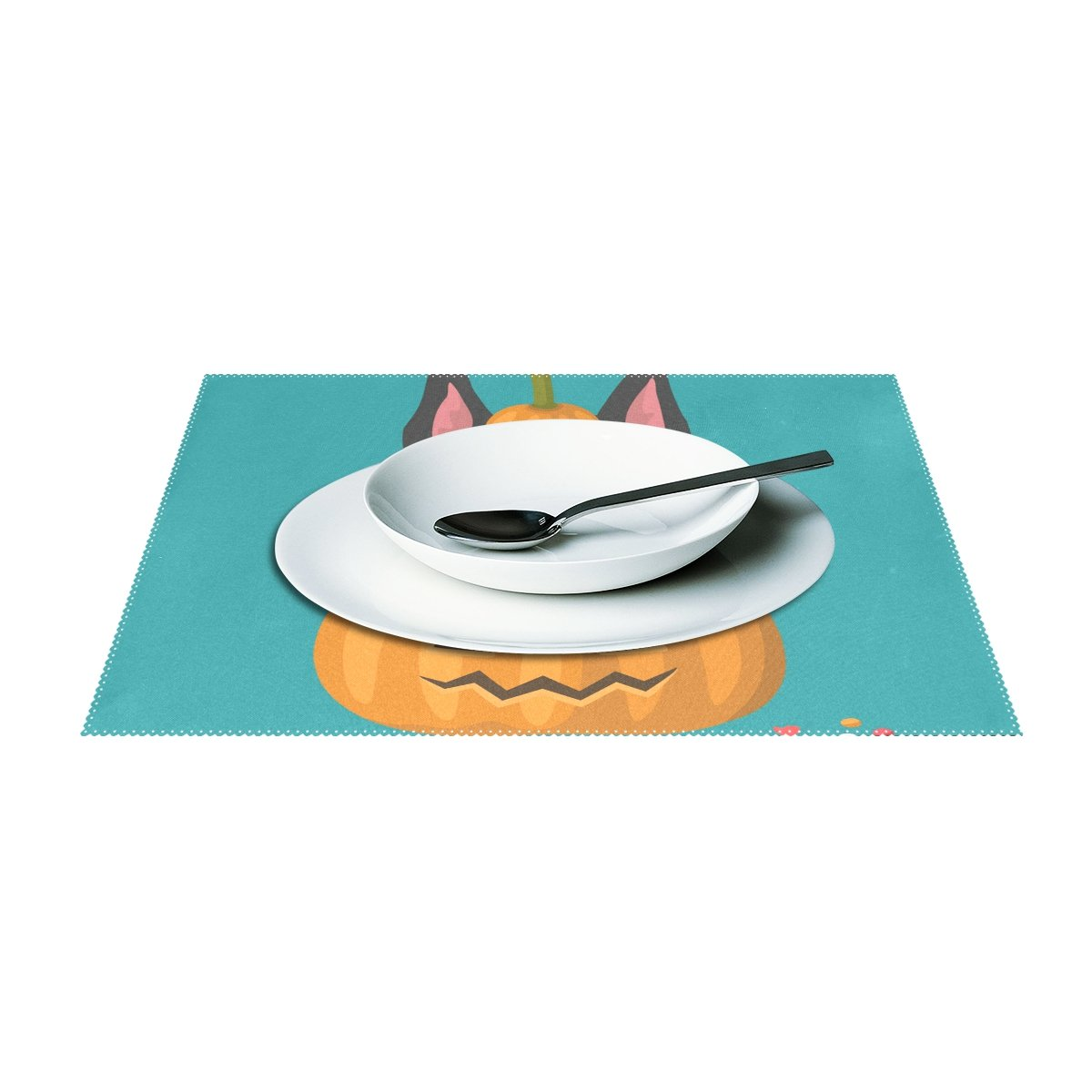 Naanle Halloween Placemats Ghost Owl Pumpkin Heat-Resistant Washable Table Place Mats for Kitchen Dining Table Decoration