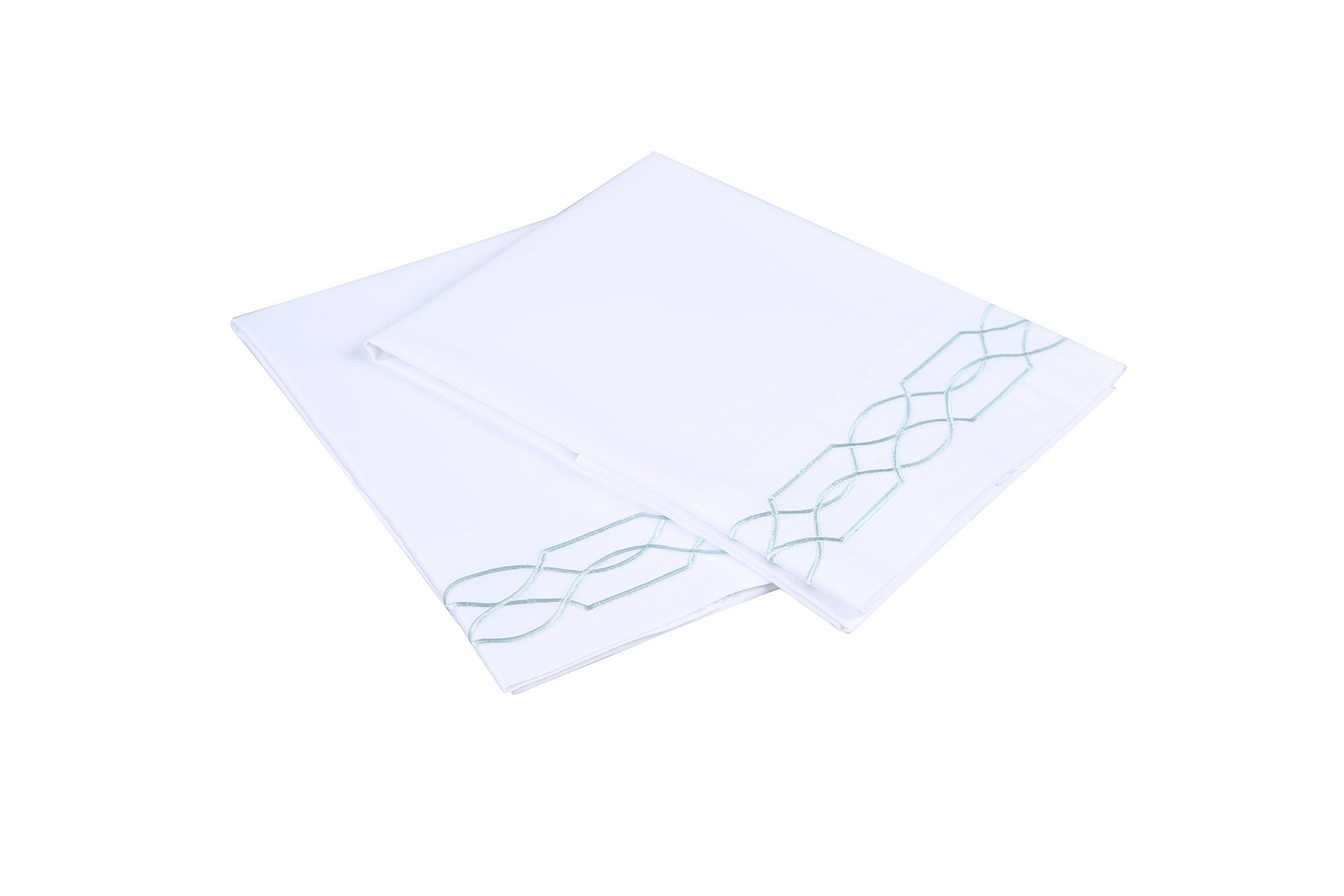 Affluence 600 Thread Count 100% Cotton Embroidered Pillowcase Sets - Lattice Pattern (King Pillowcase Set, White/Spa Blue)