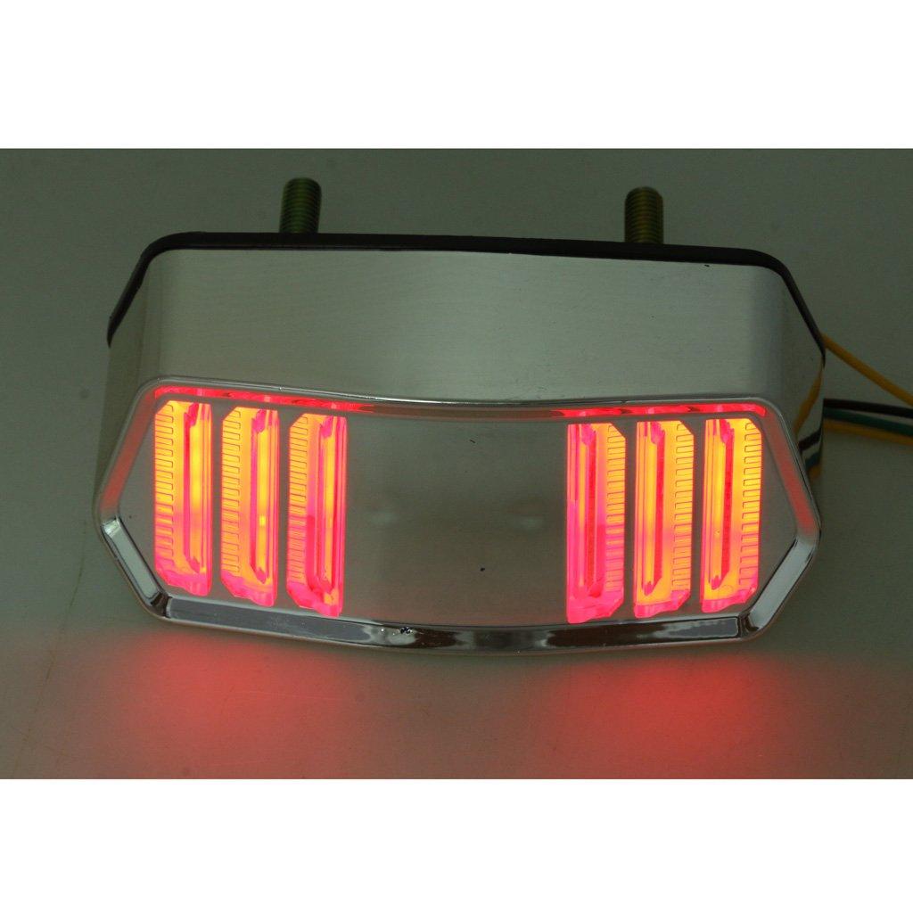 Homyl Aluminum 12V Motorbike Brake Taillight Turn Signal Light Indicator Fit for Honda Grom MSX125 CBR650F Gold