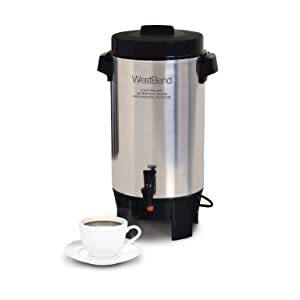 West Bend 58002 Highly Polished Aluminum Commercial Coffee Urn Features Automatic Temperature Control Large Capacity with Quick Brewing Easy Prep and Clean Up, 42 Cup, Silver