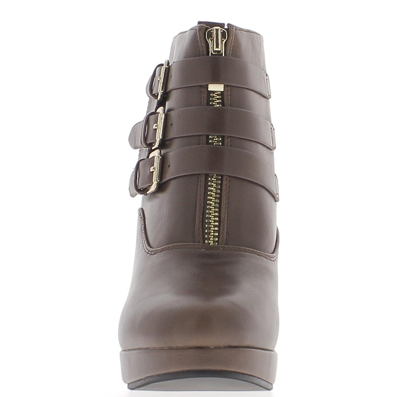 Botas a mujer marrón tacón de 10cm y plataforma 3 bridas finas - 41 YbKLnwCfK