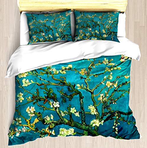 Vincent Van Gogh Blossoming Almond Tree Duvet Cover Set Bed Sheet Pillowcase Bedding Cotton Ultra Soft 3D Pattern Unique Art Design Full Set Duvet Cover - King/Cal King (Cover Duvet Almond)