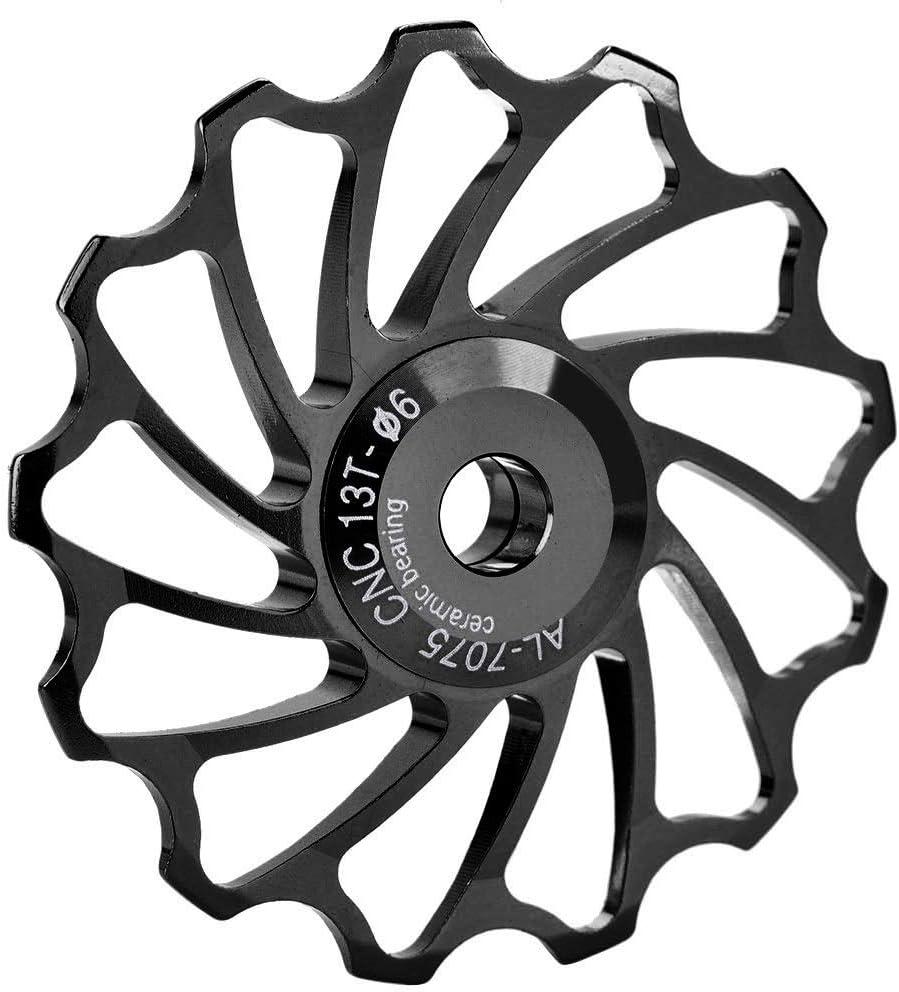 Biuzi Gu/ía Moto Roller 1 Par De Aleaci/ón De Aluminio Y La Gu/ía De Apoyo Posterior De Cer/ámica del Rodillo 13T 5 Cm Dia Negro De Bicicletas De Monta/ña Desviador Trasero De La Polea del Rodillo