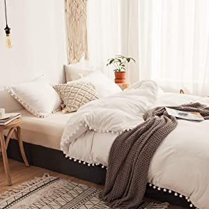 MOVE OVER 3 Pieces White Bedding Offwhite Duvet Cover Set Ball Fringe Pattern Design Soft Off White Bedding Sets Queen 1 Duvet Cover 2 Ball Lace Pillow Shams (Queen, Offwhite)