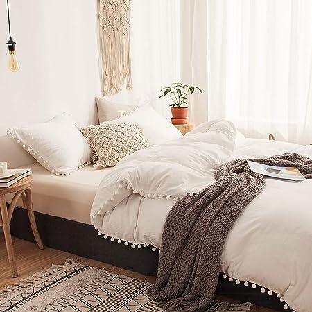 Amazon Com Move Over 3 Pieces White Bedding Offwhite Duvet Cover