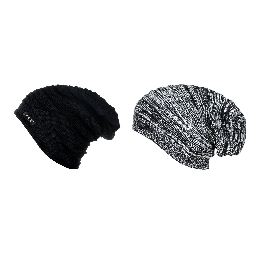 72090a31b3a Noise Boy s Combo of Wrinkled and Textured Beanie Cap Black XL  Amazon.in   Sports