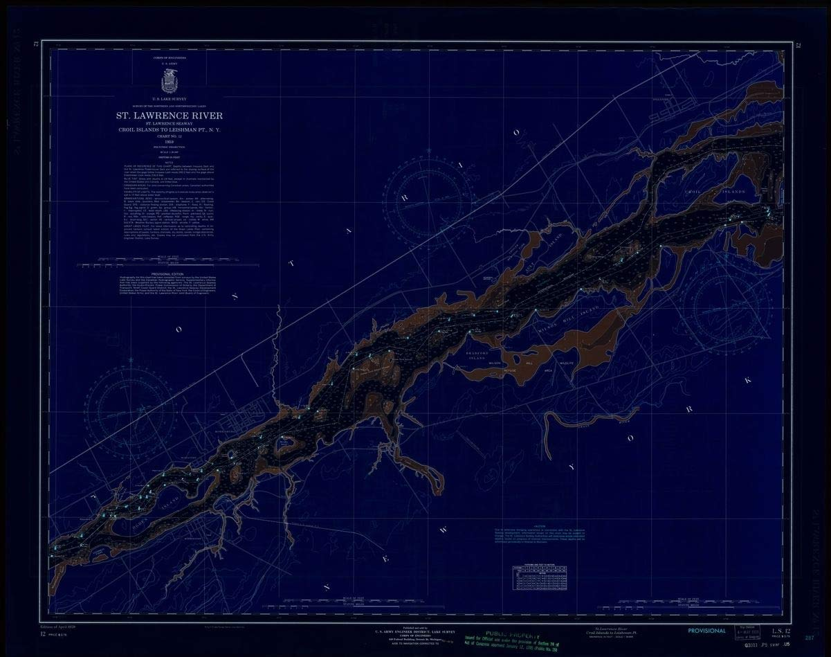 Vintography Blueprint Style 18 x 24 Reprint of 1959 Nautical Chart ST. Lawrence River, ST. Lawrence Seaway, CROIL Islands to LEISHMAN PT, N.Y. by Lake Survey NY