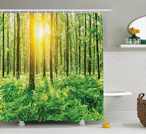 Ambesonne Woodland Decor Shower Curtain, Forest Springtime Freshness Foliage Sunbeams Sunrise Nature View Scene Pattern, Fabric Bathroom Decor Set with Hooks, 84 inches Extra Long, Green and (Woodland Scene)