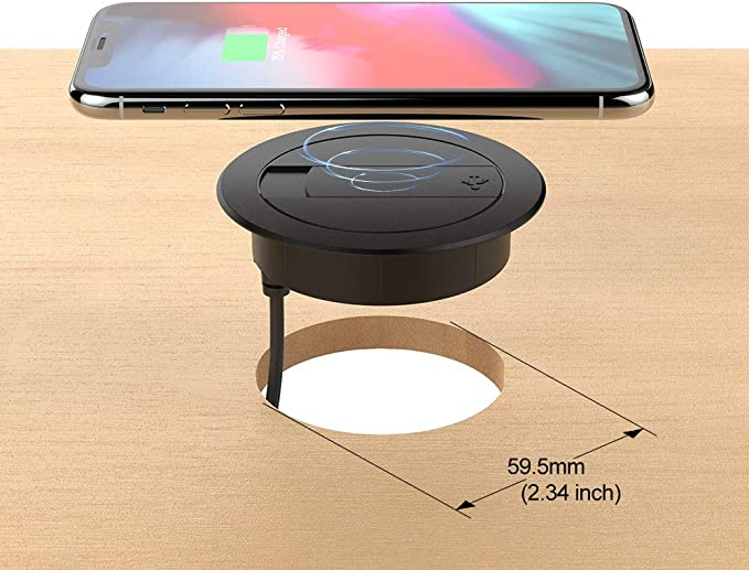 Foluu Wireless Charger, 10W Portable Desk Fast Wireless Charging Station & USB Wired Charger Compatible with iPhone Xs MaxXSXRX88 Plus, Galaxy