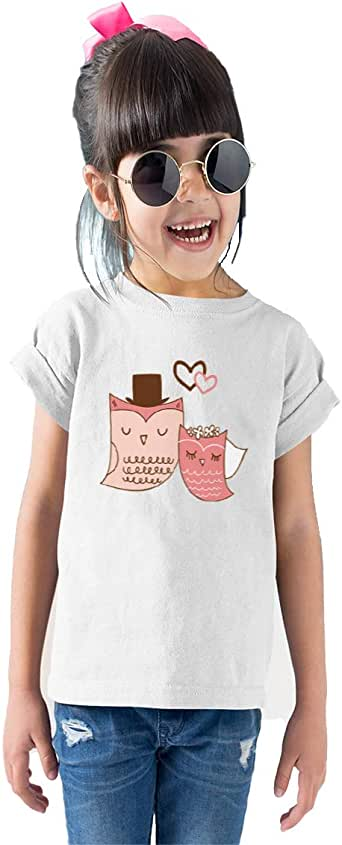 Printed Cotton T-shirt for Girls, Size 38 EU, White