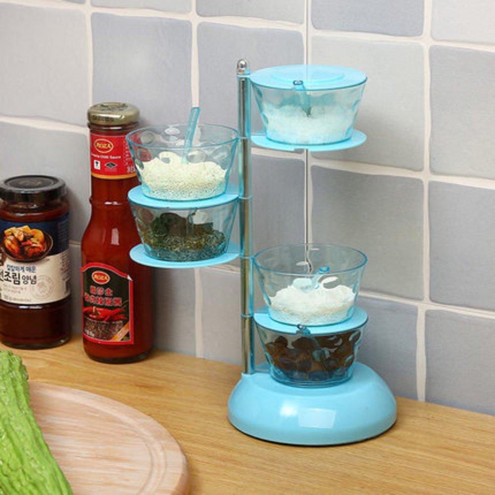 Cocina condimentos vertical la caja rotatorio caja de especias Una especia de varios pisos cubierta jarras suministros de cocina creativa condimento de ampollas frascos-B