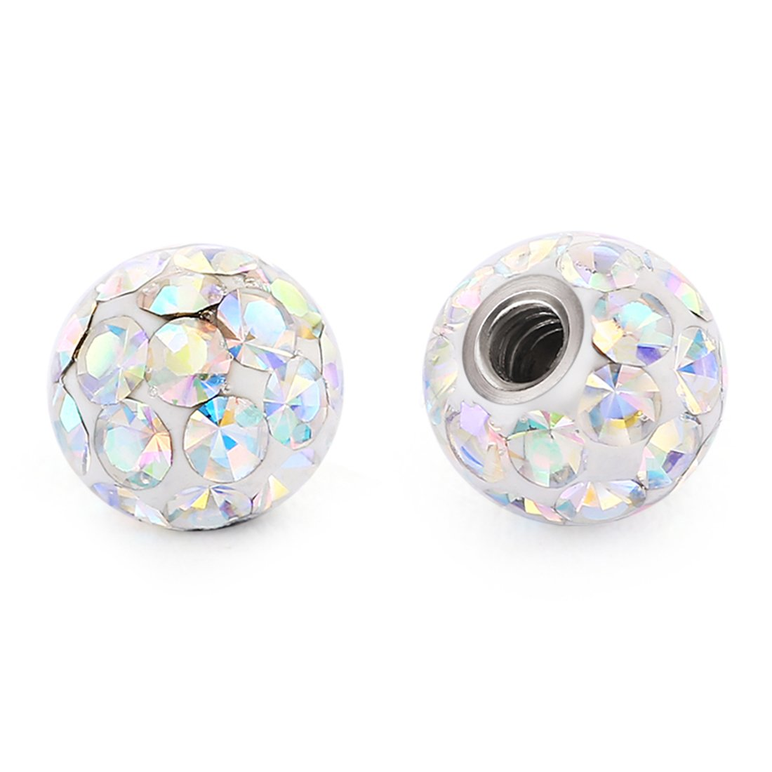 COTTVOTT 2Pcs 4mm(16G) 6mm(14G) 8mm(14G) Body Piercing Jewelry Replacement Sparkling Crystal Screw Balls generic