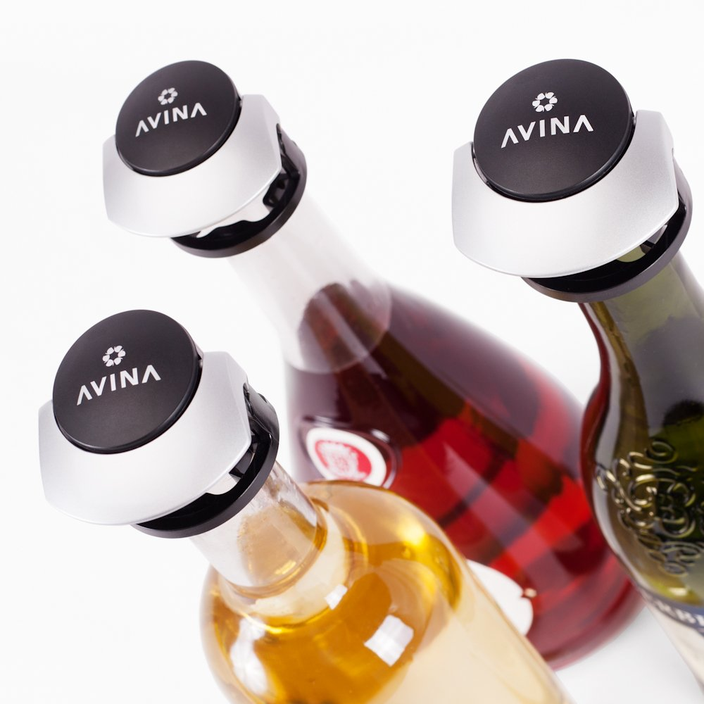 Wine Stoppers - Leak-Proof Wine Saver, Locking Bottle Cap Allows Safe Sideways Storage With Snap On Preserver Cork - Wine Accessories Set of 3 by AVINA Wine Accessories