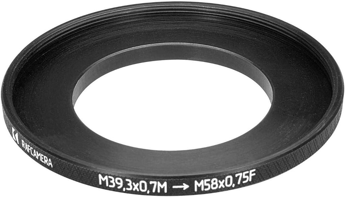 39.3mm to 58mm Step-up Ring M39.3x0.7 Male to M58x0.75 Female Thread Adapter