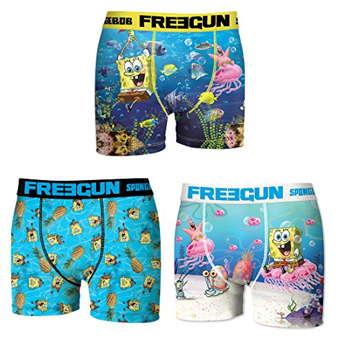 Freegun. Boxer for Boys Sponge Bob in Microfiber - Assortment Models Photos According to Arrivals- (10/12 Years, Pack of 3 asst2) -