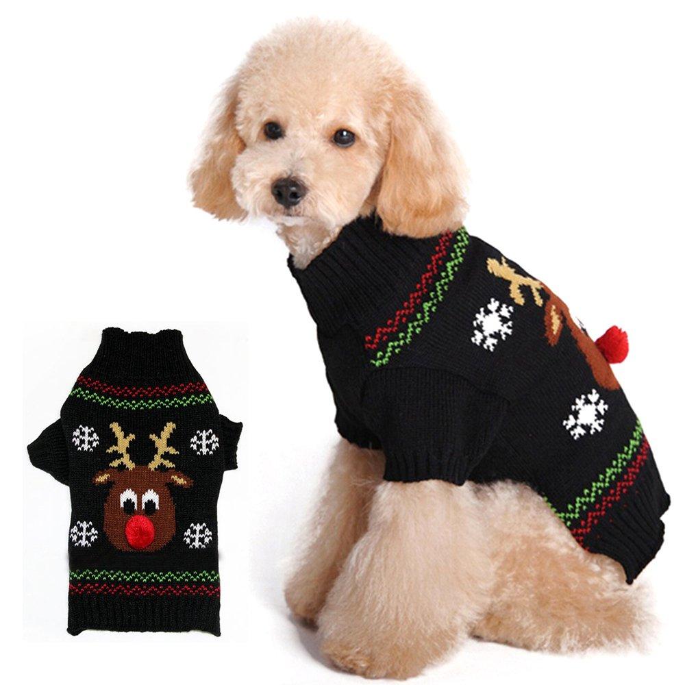 Weinachten Haustier Hund Katze Pullover Kuschelige Bekleidung Mantel Kostüm für Tiere Weihnachten Reh Motiv Interlink-UK