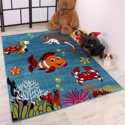 Tapis Pour Enfant Poisson-Clown Turquoise Chambre d'enfant Tapis Motif Turquoise, Dimension:120x170 cm