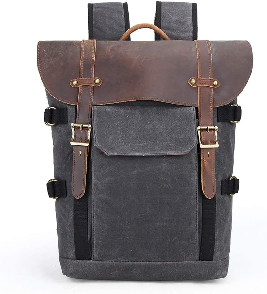 Color : Gray Mens Backpack Mens Shoulder Camera Bag SLR Camera Bag Waterproof Batik Canvas Retro Fashion Digital Camera Backpack