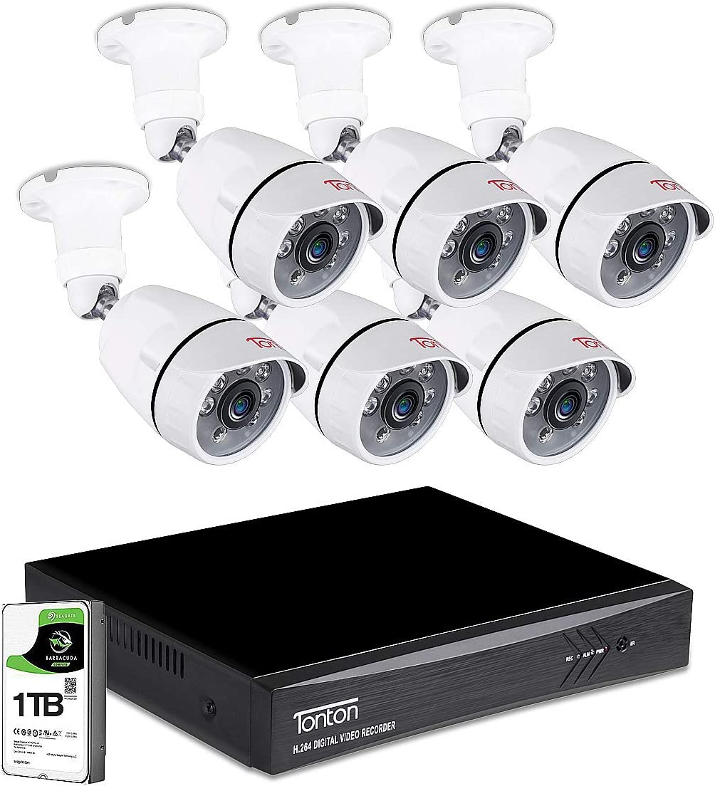 Tonton 8CH Full HD 1080P Expandable Security Camera System, 5-in-1 Surveillance DVR with 1TB Hard Drive and 6 2.0MP Waterproof Outdoor Indoor Bullet Camera, Free APP Remote Viewing and Email Alert