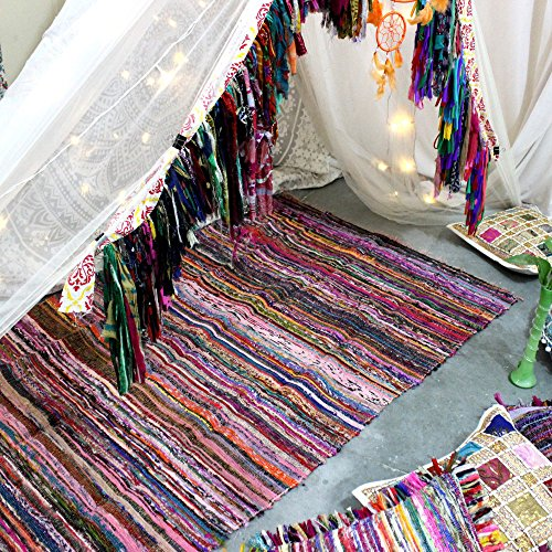 Fair Trade Handmade Rag Rug Chindi Rug Multi Colored Indian Mat Recycled Rug Boho Decorative Rug( 5ftx3ft ) (Purple)