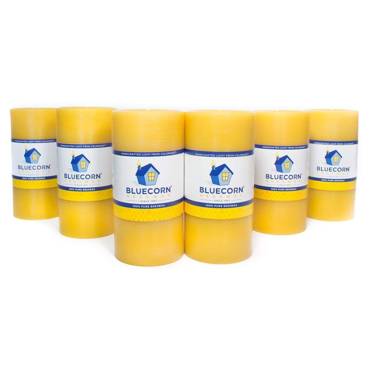 Bluecorn Beeswax 100% Pure Raw Wax Pillars: Case (6) 3''x 6'' (Save 10%)