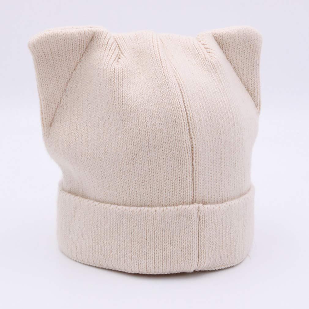 chenqi Sombrero de Mujer Orejas de Gato Gorros de Invierno de Punto Calientes Casuales Casquillos para Mujeres ni/ñas