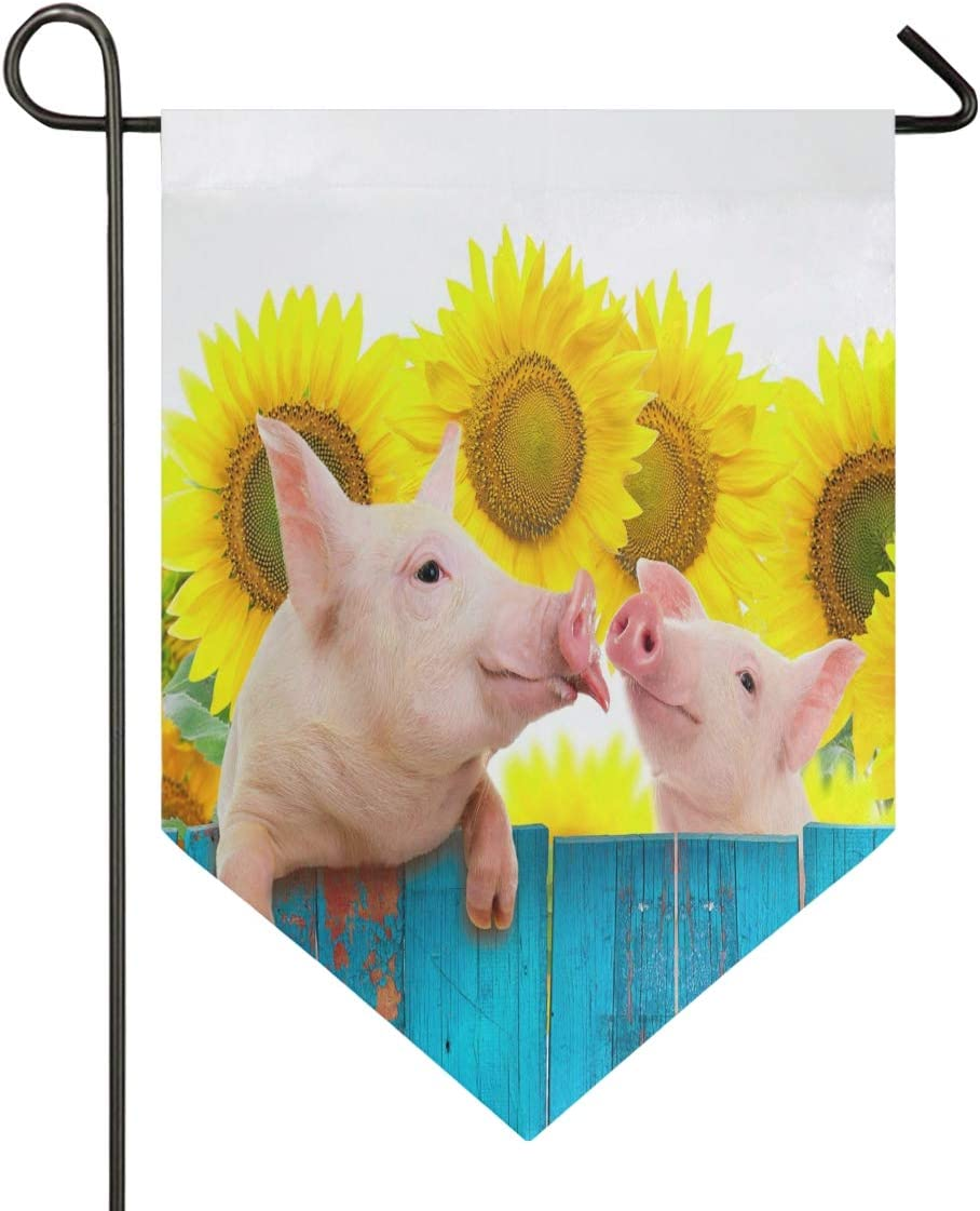 Oarencol Funny Pig Hanging on Fence Sunflower Wooden Garden Flag Summer Animal Flower Double Sided Home Yard Decor Banner Outdoor 12.5 x 18 Inch