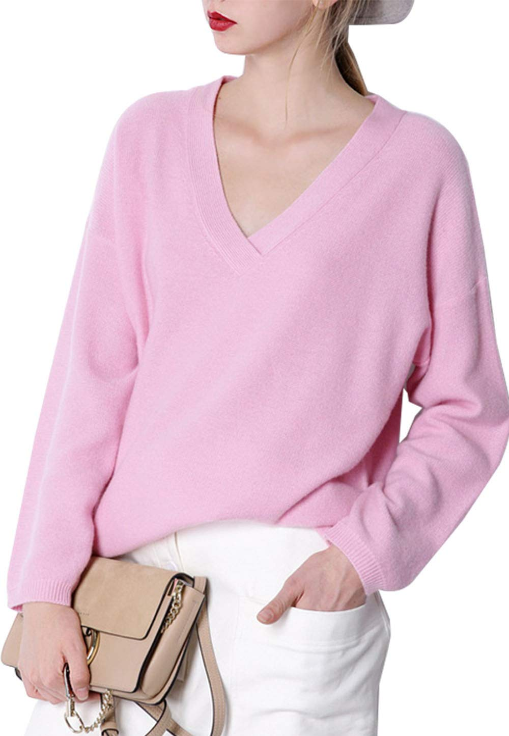 Womens Loose Fit Cashmere Soft Thermal V Neck Long Sleeve Solid Cosy Basic Sweater Tops Blouse Pink US 12