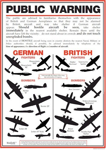 World War 2 Public Warning Aircraft Identification Poster - A3 by Toys & Child