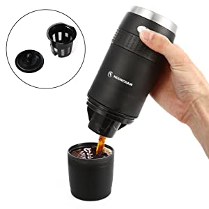 Mounchain Filter Coffee Machine, Mini Compact Portable Travel Coffee Machine, Coffee Power & K-cup Capsule, Battery Operated (2AAA Battery), Automatic Pensional Coffee Maker, Coffee Lovers Gift, for Commuter Camping, Outdoors, Office