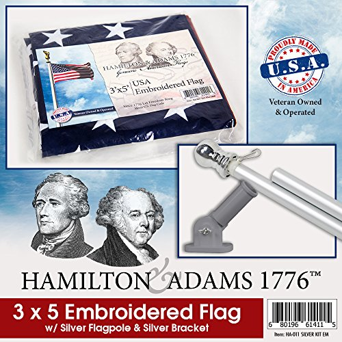 Hamilton & Adams 1776 American Flag, Tangle Free Flag Pole, and Bracket Kit Silver Pole, Bracket, and American Flag (Embroidered)