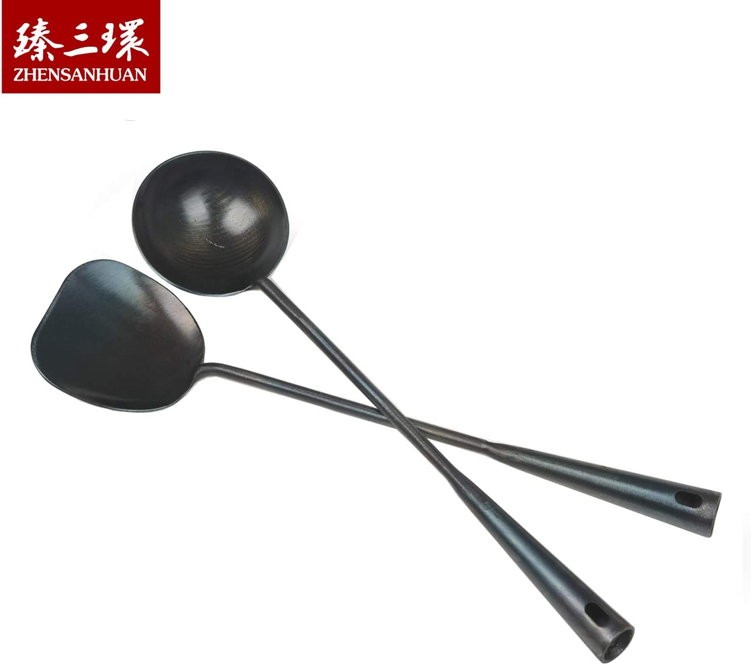 ZhenSanHuan Chinese Traditional Hand Hammered Iron Ladle & spatula/turner (Spatula & Ladle Set)
