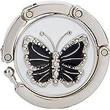 Accroche Sac Porte-Sac Crochet de Sac à Main Pliable Motif de Papillon Noir et Blanc
