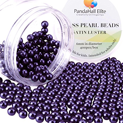 Freshwater Pearls And Glass Bead Necklace - PH PandaHall 6mm About 400Pcs Tiny Satin Luster Glass Pearl Round Beads Assortment Lot for Jewelry Making Round Box Kit Violet