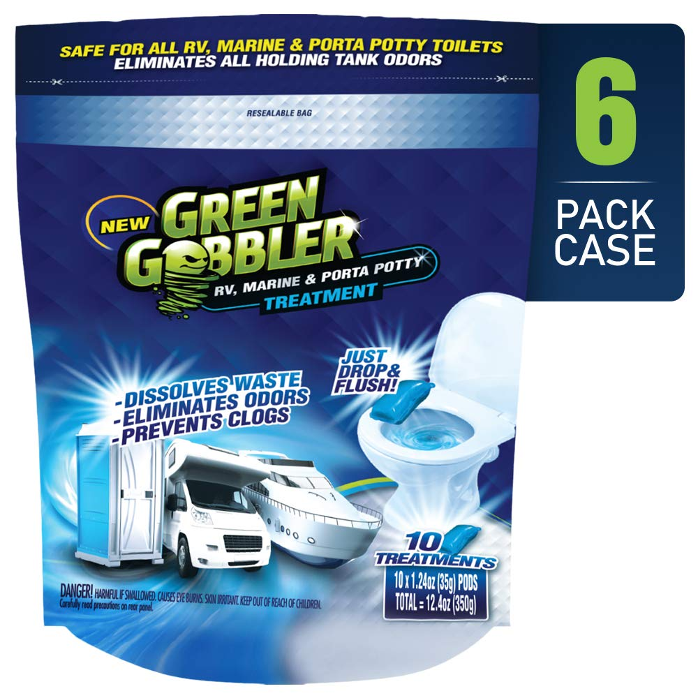 EcoClean Solutions Holding Tank Deodorizer and Treatment | RV, Marine & Porta Potty Treatment | Prevents Clogs & Waste Build-Up (6 Pack Case) by Green Gobbler