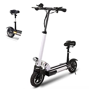 Electric Scooter, Adult Folding Electric Bicycle with LED Light Adjustable Handle Detachable Seat Unisex Sports Scooter, Battery 48V with Seat 40~50km,White SSCJ