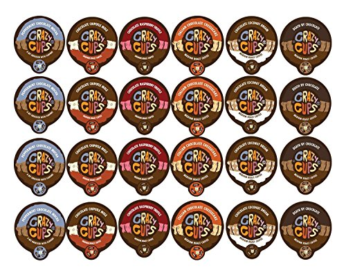 Crazy Cups Coffee Chocolate Lovers Single Serve Cups Variety Pack Sampler for the K Cup Brewer, 24 count (Lovers Pack)