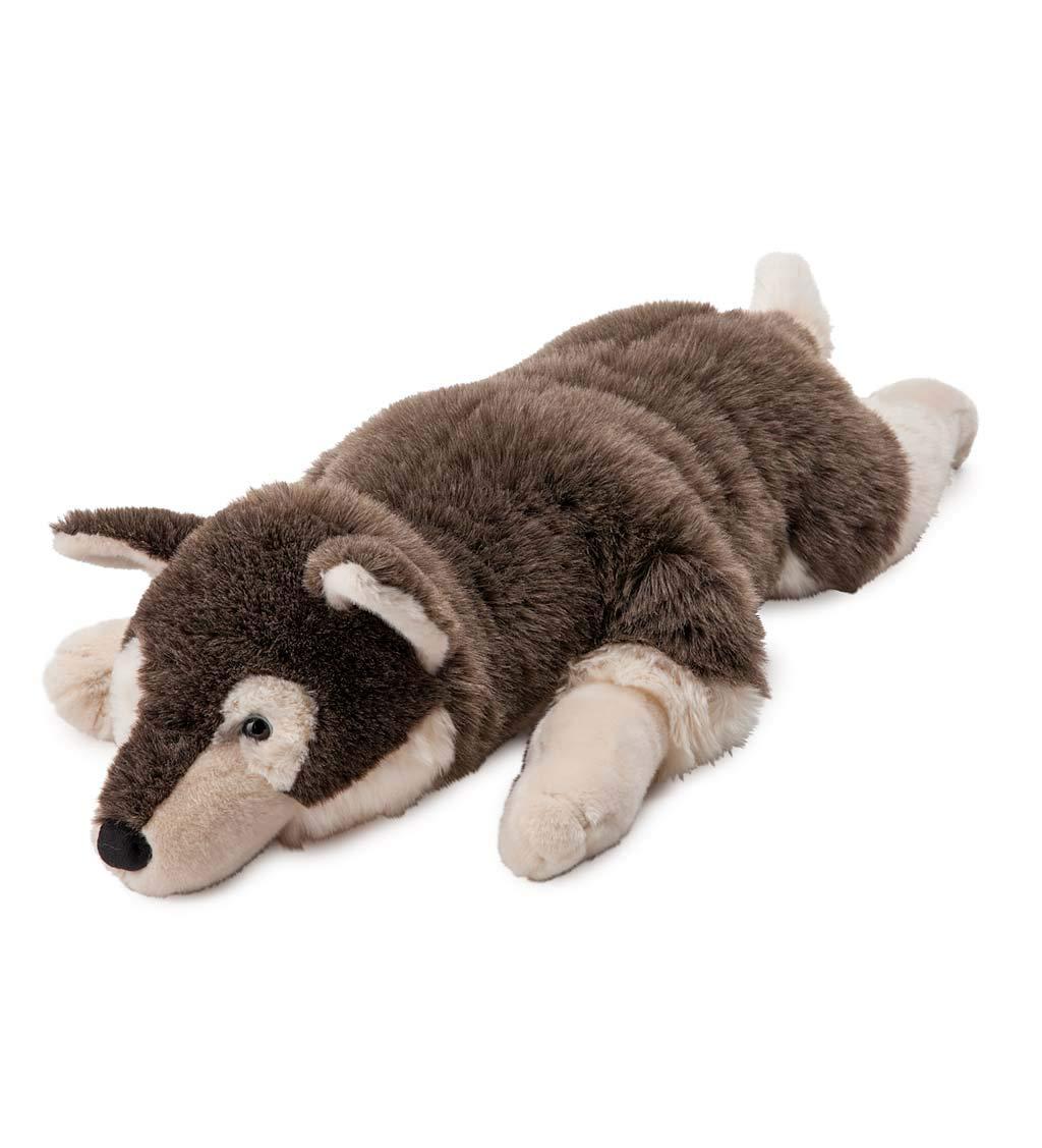 Plow & Hearth Husky Dog Plush Body Pillow - 48.25 L x 17.5 W x 10 H