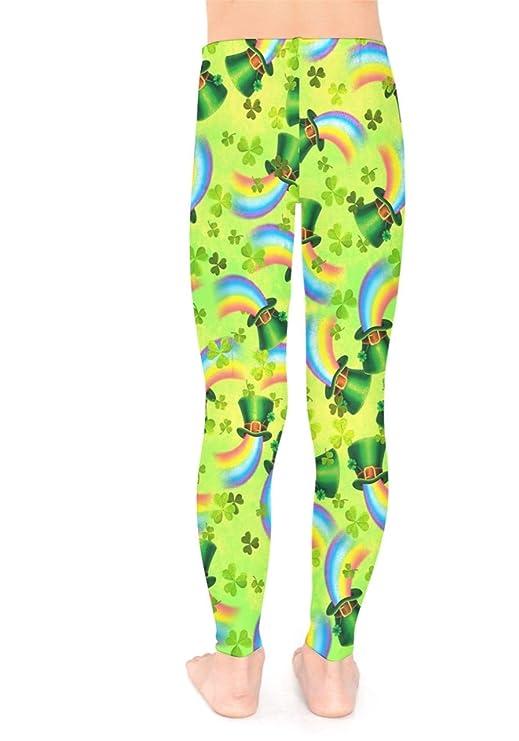 f9b60ec92aa85 PattyCandy Little/Big Kids Tights Irish Lucky Shamrock Clover Leaves  Pattern Unisex Stretchy Leggings Girls